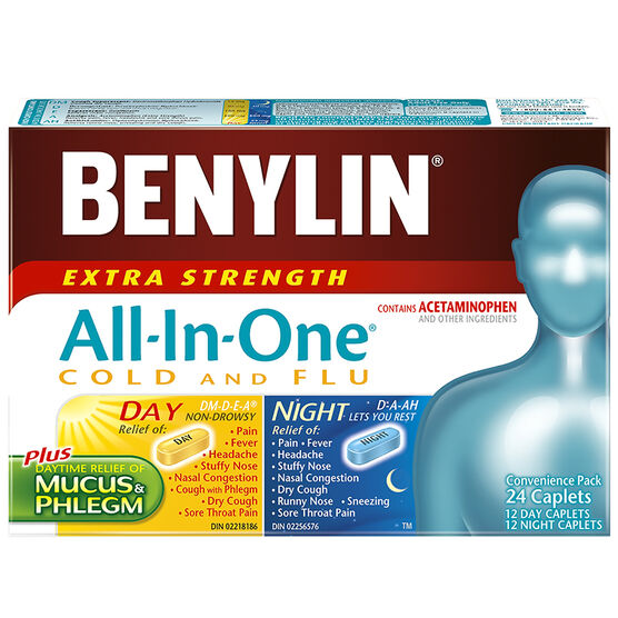 Benylin All-in-One Cold & Flu 24 Hour Convenience Pack - Extra Strength - 24 caplets
