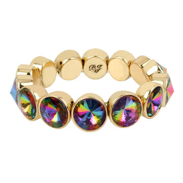 Betsey Johnson Multi Stone Stretch Bracelet - Multi/Gold