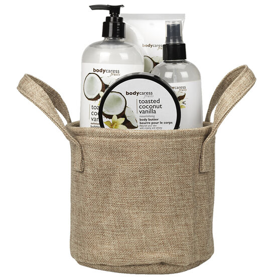 BodyCaress Fruits Bath Gift Set with a Canvas Bag - Toasted Coconut Vanilla - 4 piece