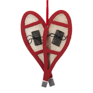 Winter Wishes Wooden Snowshoes Ornament - 6 in