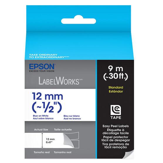 "Epson Blue on White Easy Peel Label 1/2"" - 12mm x 9m"
