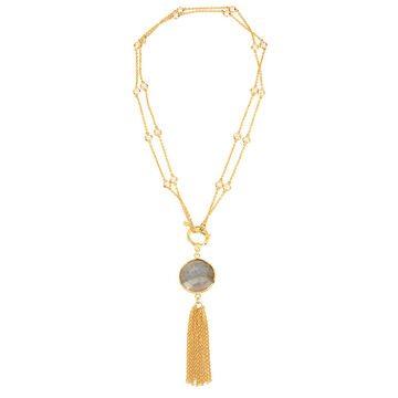 Haskell Tassel Necklace - Green/Gold