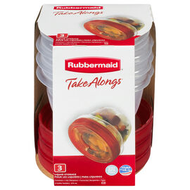 Rubbermaid TakeAlongs Twist & Seal Containers - Clear - 3 x 473ml