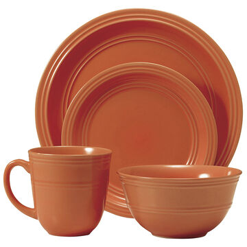 Thomson Ribbed Dinnerware - Orange - 16 piece