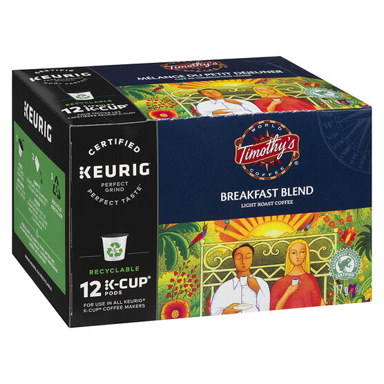 K-Cup Timothy's Light Roast Coffee - Breakfast Blend - 12 Servings