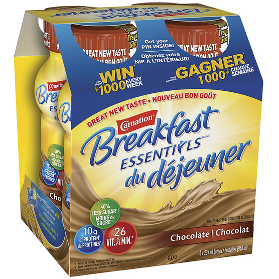 Nestle Carnation Breakfast Drink - Chocolate - 4 x 237ml