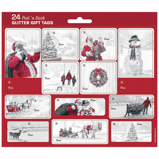 Christmas Scenics Glitter Gift Tags - 24s