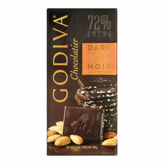 Godiva 72% Dark Chocolate Bar With Almonds - 100g