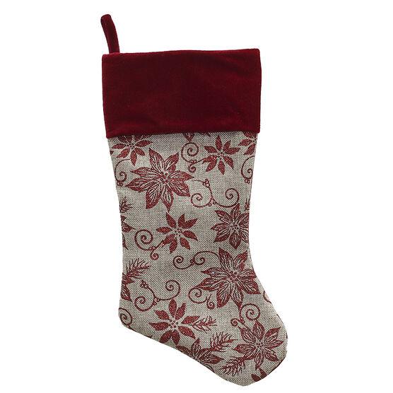 Burlap Poinsettia Stocking - 18 in - Red