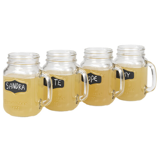 London Drugs Mason Jar Mugs with Chalk Board - Set of 4