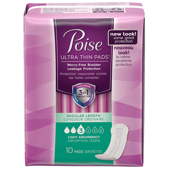 Poise Light Absorbency - Ultra Thin Regular - 10's
