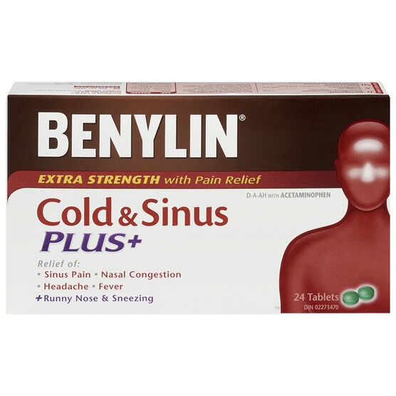 Benylin Cold & Sinus Plus Decongestant-Analgesic & Antihistamine - 24 caplets