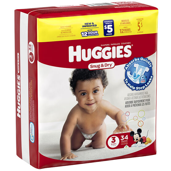 Huggies Snug & Dry Diapers - Size 3 - 34's