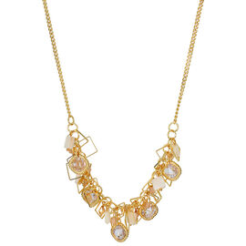 Haskell Crystal Cluster Necklace - White/Gold