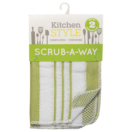 Kitchen Style Scrub-A-Way Dishcloths - Green - 2 pack