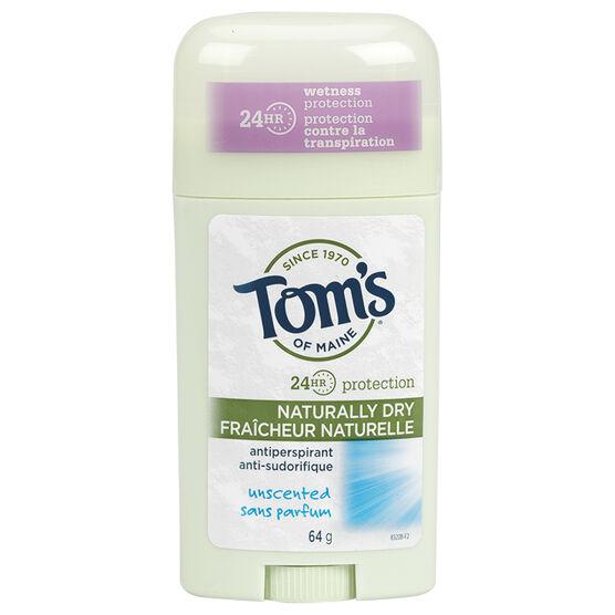 Tom's of Maine Antiperspirant - Unscented - 64g