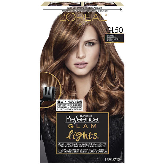 Loreal Superior Preference Glam Lights - GL50 Medium to Dark Brown