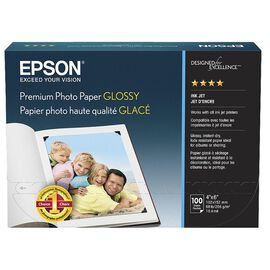 Epson Premium Glossy Photo Paper - 4 x 6inch Borderless - 100 Sheets - S041727