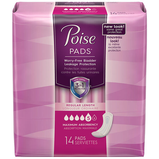 Poise Ultra Absorbency Pads with Side Shields - 14's