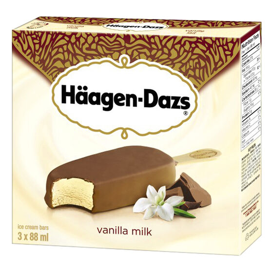 Haagen Dazs Take Home Ice Cream Bars - Vanilla Milk Chocolate - 3 x 88ml