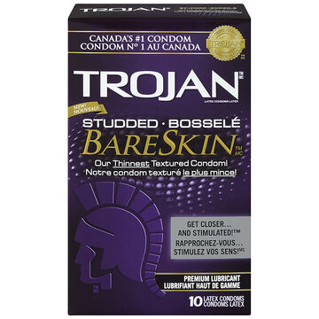 Trojan Studded Bareskin Condoms - 10's