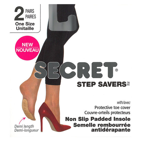 Secret Step Saver Demi Length Non Slip Insoles - Black