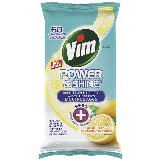 Vim Power & Shine Wipes - Citrus Clean - 60's