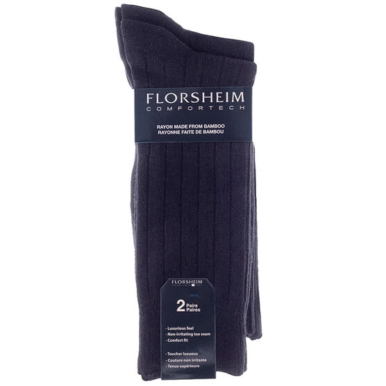 Florsheim Men's Crew Socks - Black - 2 pair