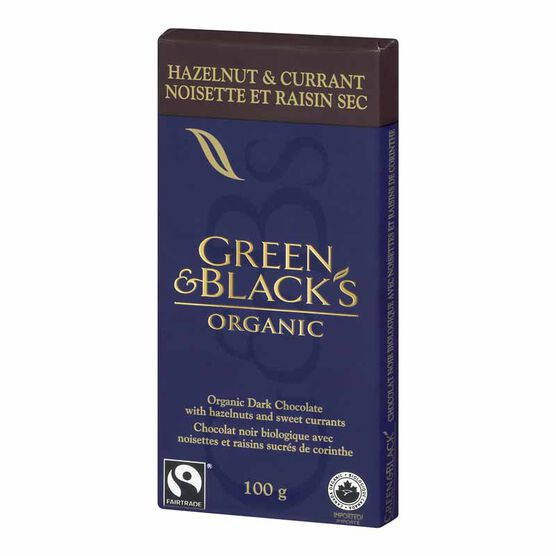 Green & Black's Organic Chocolate Bar - Hazelnut & Currant -  100g