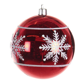 Winter Wishes Candy Cane Lane Ball Ornament - Red Snowflake