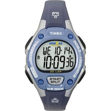 Timex Ironman Triathlon 30 Lap Mid Size Watch - Sliver/Blue - 5K018