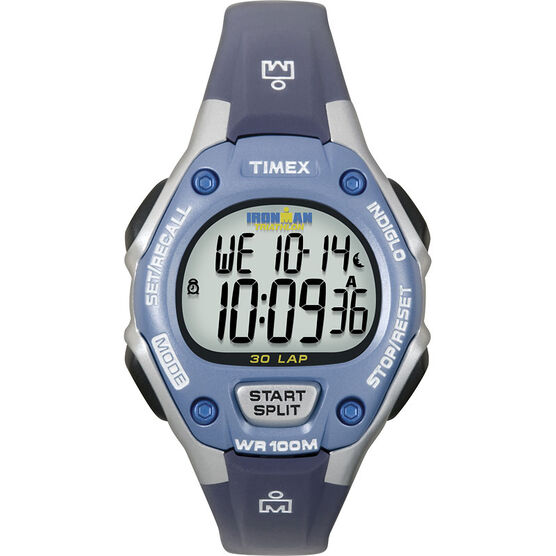 Timex Ironman Triathlon 30 Lap Mid Size Watch - Sliver/Blue - 5K018