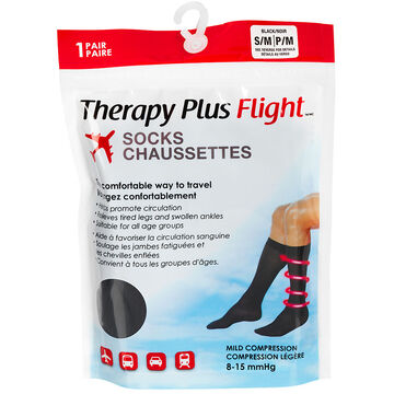 Therapy Plus Flight Socks - Black - Small to Medium