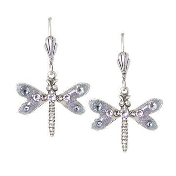 Anne Koplik Grey-Coloured Striped Dragonfly Earrings