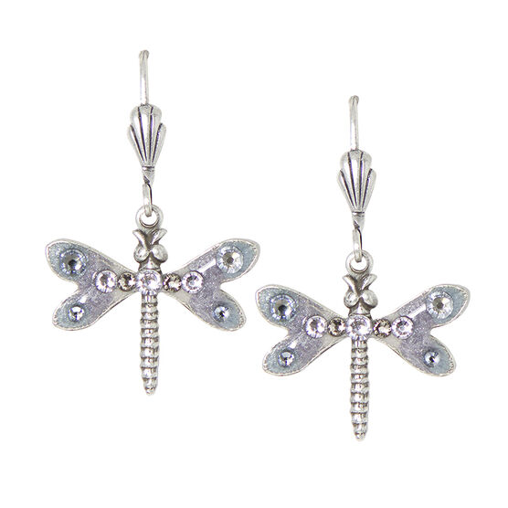 Anne Koplik Grey-Coloured Striped Dragonfly Earrings