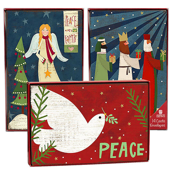 American Greetings Christmas Cards - Peace & Joy - 14 count - Assorted