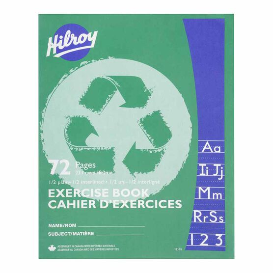 Hilroy Exercise Book 1/2 Plain - 72 pages - Assorted