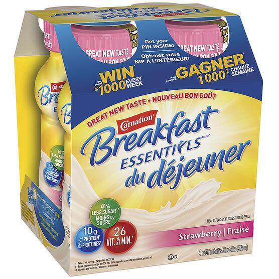 Nestle Carnation Breakfast Drink - Stawberry - 4 x 237ml