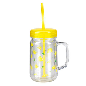 London Drugs Mason Jar Drinking Mug - Lemon - 24oz
