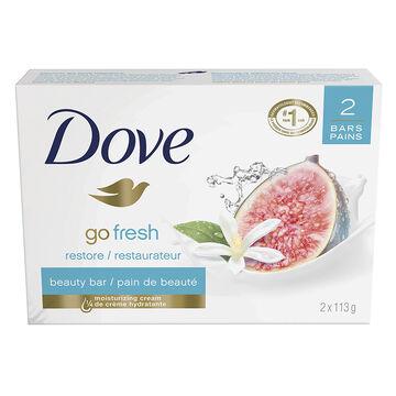 Dove Go Fresh Restore Beauty Bar - Blue Fig & Orange Blossom - 2 x 113g