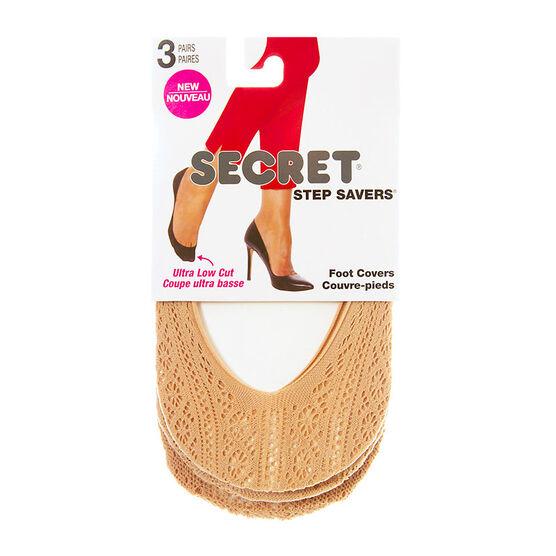 Secret Step Savers Crochet Foot Cover - Nude - 3 pair