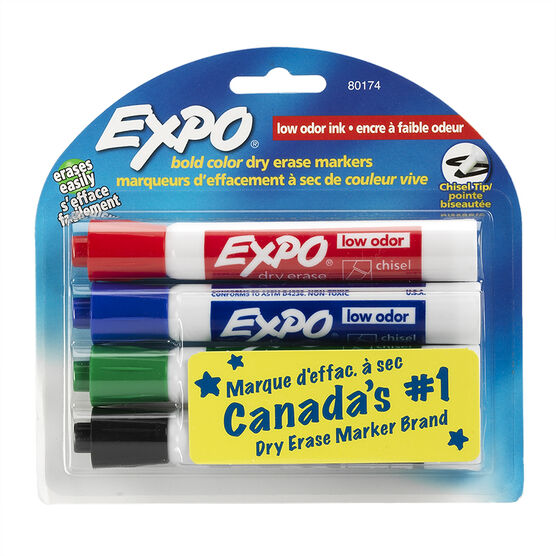 Expo 2 Low Odor Dry Eraser - Chisel Tip - 4 pack