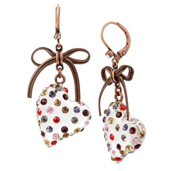 Betsey Johnson Confetti Heart Drop Earrings - Multi