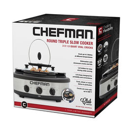 Chefman Triple Slow Cooker - RJ15-15-TO