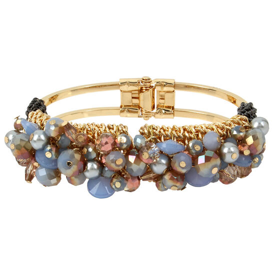 Haskell Cuff Hinged Bracelet - Grey/Gold