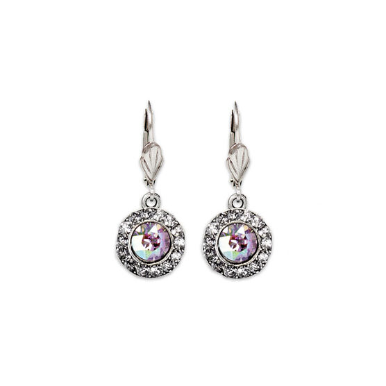 Anne Koplik Round Bulleye Drop Earrings - Crystal/Amethyst AB