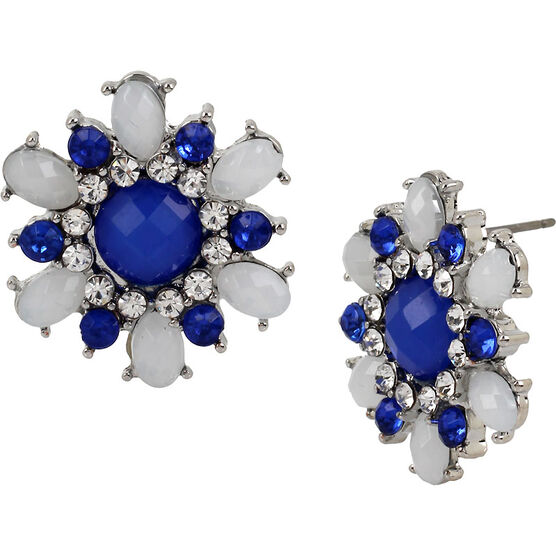 Haskell Crystal Flower Earrings - Blue/Rhodium