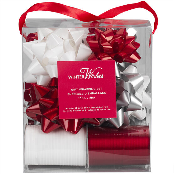 Winter Wishes Bow and Ribbon Set - 16 piece - Red/White/Grey - XLD2016-1BFOB