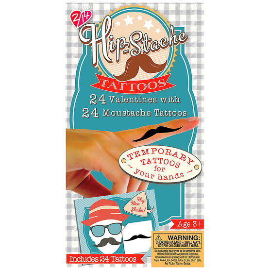 Moustache Valentines with Temporary Tattoos - 24s - 4162205