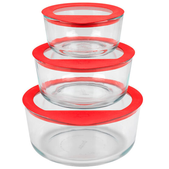 Pyrex No Leak All Glass Set - Red - 6 piece